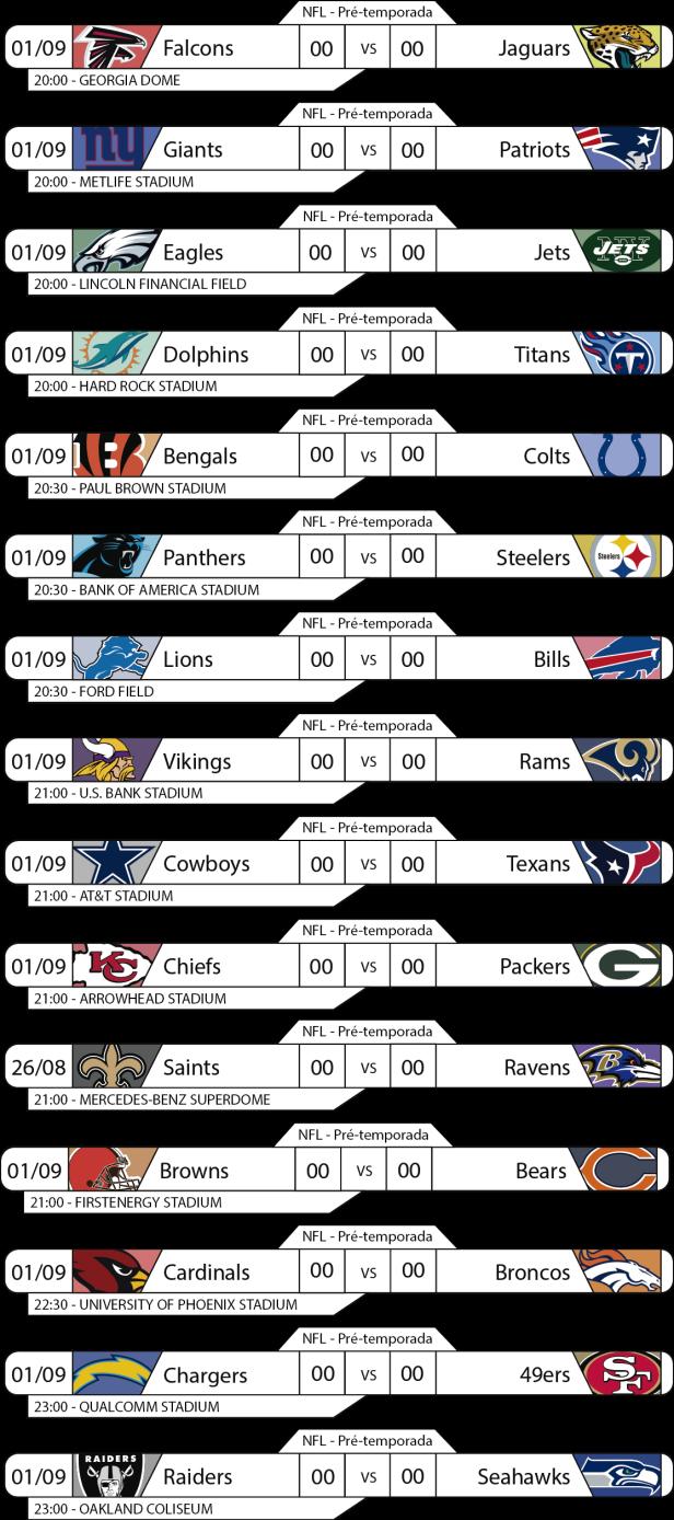 Tudo pelo Futebol Americano - 2016-09-01 - NFL - Pré-temporada - Semana 4 - Jogos