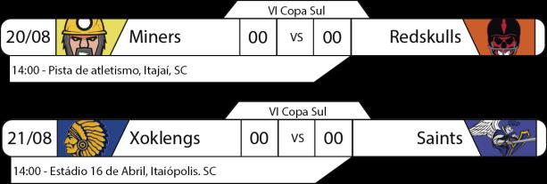 Tudo pelo Futebol Americano - IV Copa Sul - 2016/08/20 e 21 - Jogos