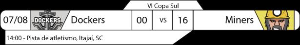 Tudo pelo Futebol Americano - IV Copa Sul - Resultados Rodada 07 de agosto