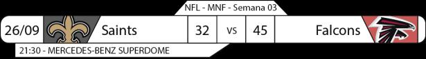 Tudo pelo Futebol Americano - NFL - 2016-09-26 - Semana 03 - monday Night Football - Resultado - Saints x Falcons