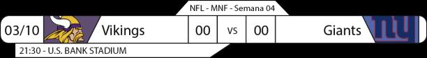 Tudo pelo Futebol Americano - 2016-10-03 - Semana 04 - Monday Night Football - Vikings x Giants