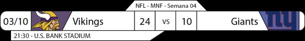 Tudo pelo Futebol Americano - NFL - 2016-10-03 - Semana 04 - Monday Night Football - Vikings 24 x Giants 10