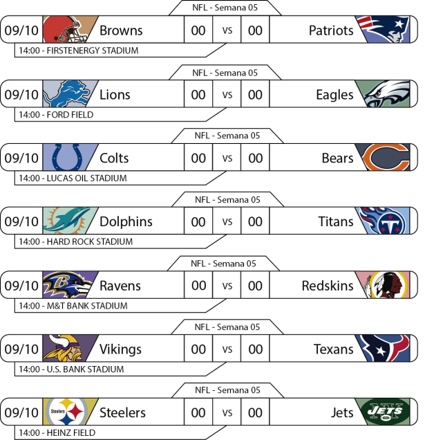 Tudo pelo Futebol Americano - 2016-10-09 - NFL - Semana 05 - Jogos 14h
