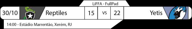 Tudo pelo Futebol Americano - LiFFA-FullPad - 30/10/2016 - Resultado