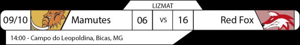 Tudo pelo Futebol Americano - LIZMAT - 2016-10-09 - Resultado