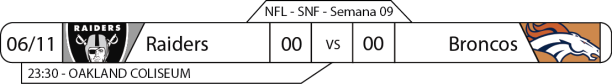 Tudo pelo Futebol Americano - NFL - 06/11/2016 - Semana 09 - Sunday Night Football - Raiders x Broncos
