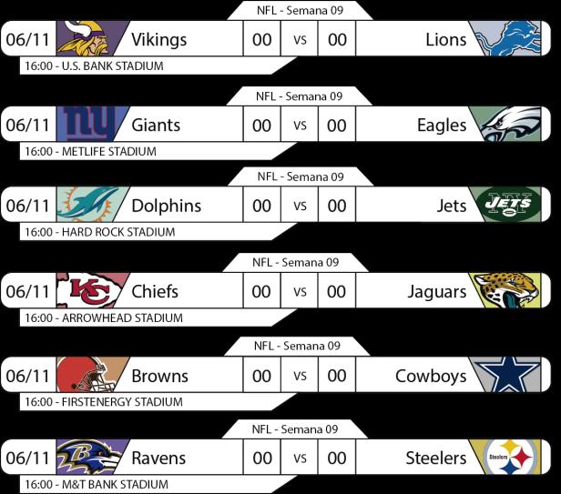 Tudo pelo Futebol Americano - NFL - 06/11/2016 - Semana 09 - Jogos 16h