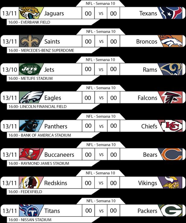 Tudo pelo Futebol Americano - NFL - 13/11/2016 - Jogos 16h