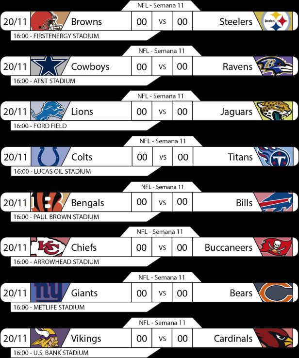 Tudo pelo Futebol Americano - NFL - 21/11/2016 - Semana 11 - Jogos 16h