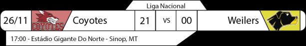 Tudo pelo Futebol Americano - Liga Nacional - 26/11/2016 - Semifinal Nacional - Resultado