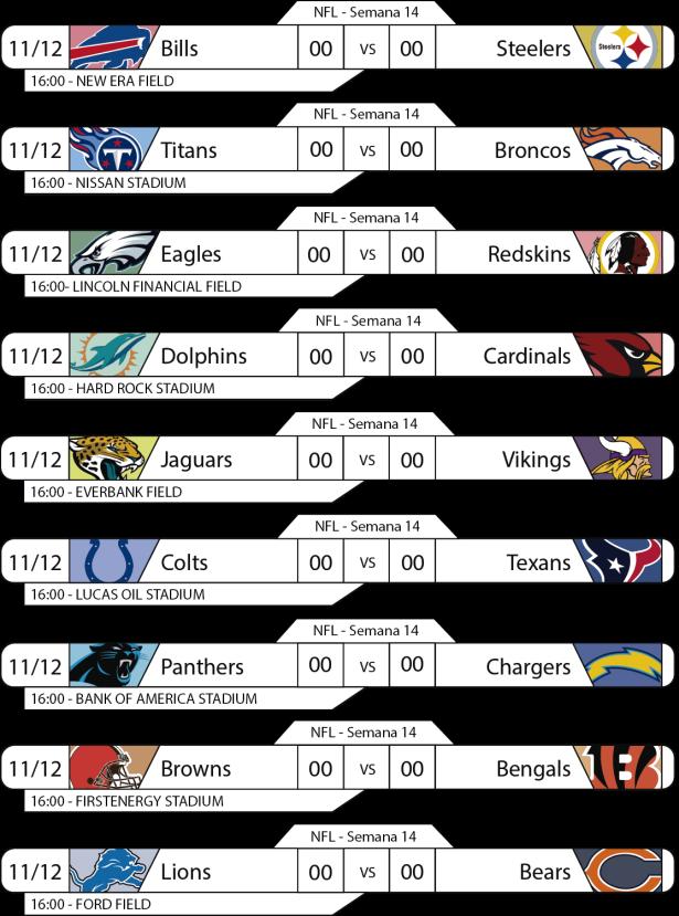 Tudo pelo Futebol Americano - NFL - 11/12/2016 - Semana 14 - Jogos 16h