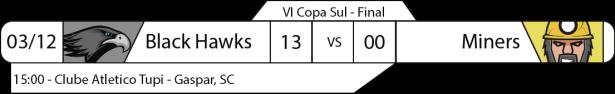 Tudo pelo Futebol Americano - IV Copa Sula - 03/12/12016 - Final - Black Hawks 13 x Miners 00