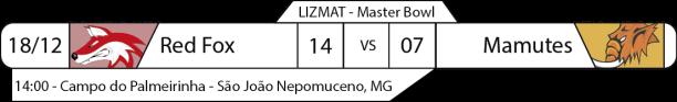 Tudo pelo Futebol Americano - Liga da Zona da Mata (LIZMAT) - 18/12/2016 - Master Bowl - Red Fox 14 x Mamutes 07
