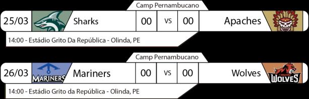 Tudo pelo Futebol Americano - Campeonato Pernambucano - 25 e 26 - 2a Divisão - Jogos