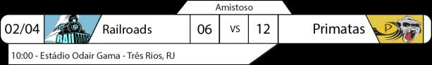 Tudo pelo Futebol Americano - Amistosos - 02-04-2017 - Três RIos Railroads 06 x Matias Barbosa Primatas 12