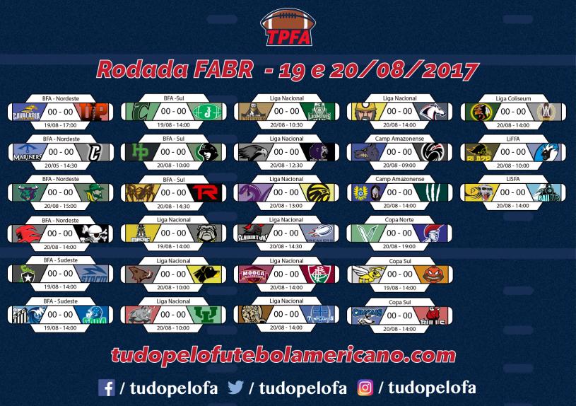 da01374793146 Rodada do fim de semana de 19 e 20 08 do futebol americano no Brasil  (FABR)