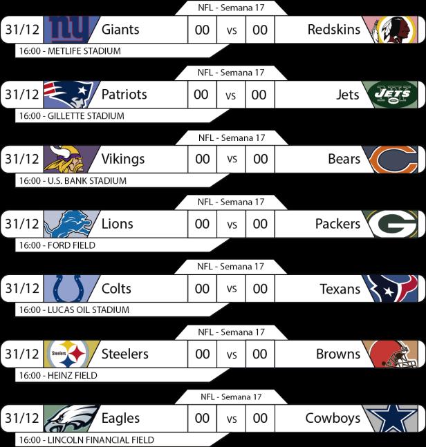 TPFA - NFL - 2017-12-31 - Jogos 16h
