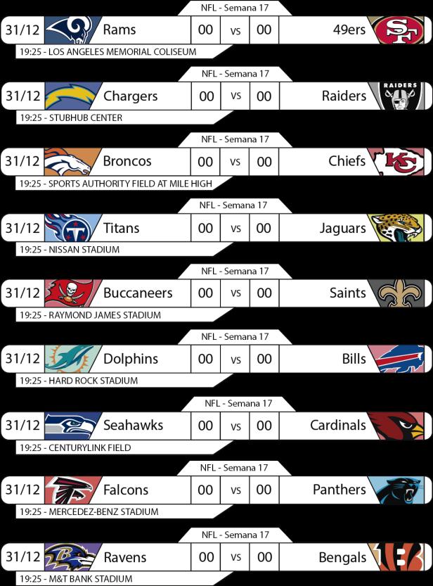 TPFA - NFL - 2017-12-31 - Jogos 19h