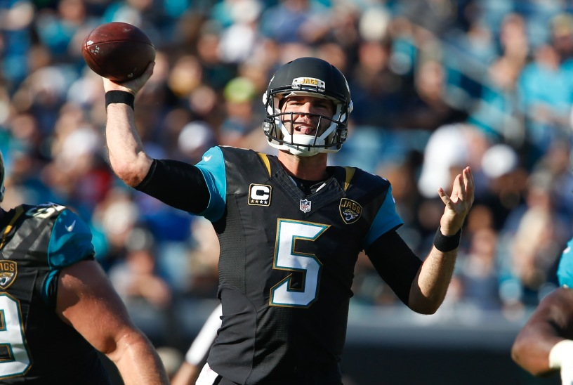 Blake Bortles, quarterback do Jacksoville Jaguars. Foto: Reinhold Matay-USA TODAY Sports