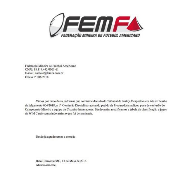 TPFA - Nota de exclusão do Cruzeiro Imperadores - FEMFA